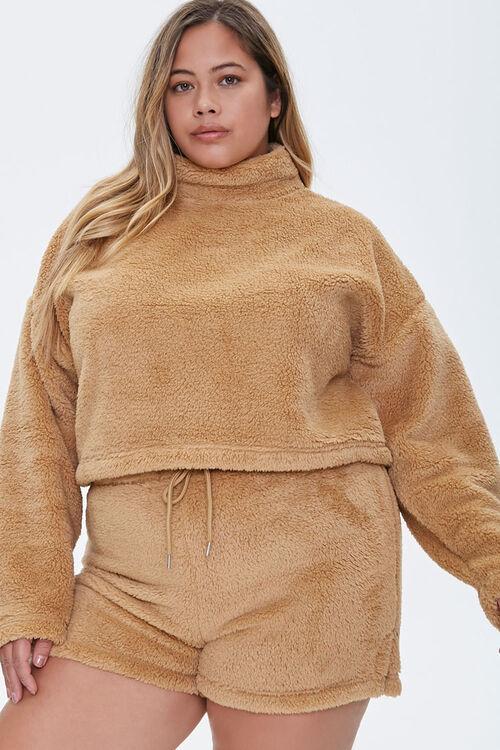 Plus Size Fuzzy Shorts, image 1