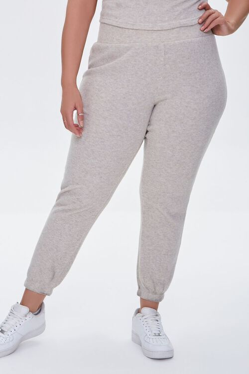 Plus Size Ribbed Knit Joggers, image 2