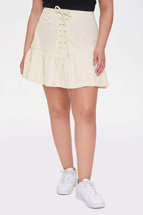 Plus Size Lace-Up Mini Skirt, image 2