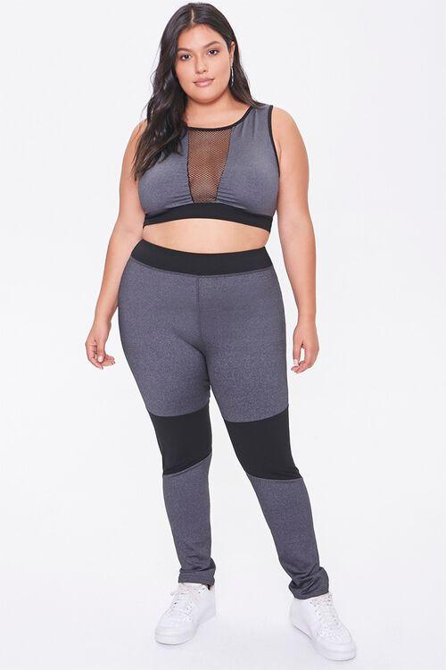 CHARCOAL/BLACK Plus Size Mesh-Insert Sports Bra, image 4