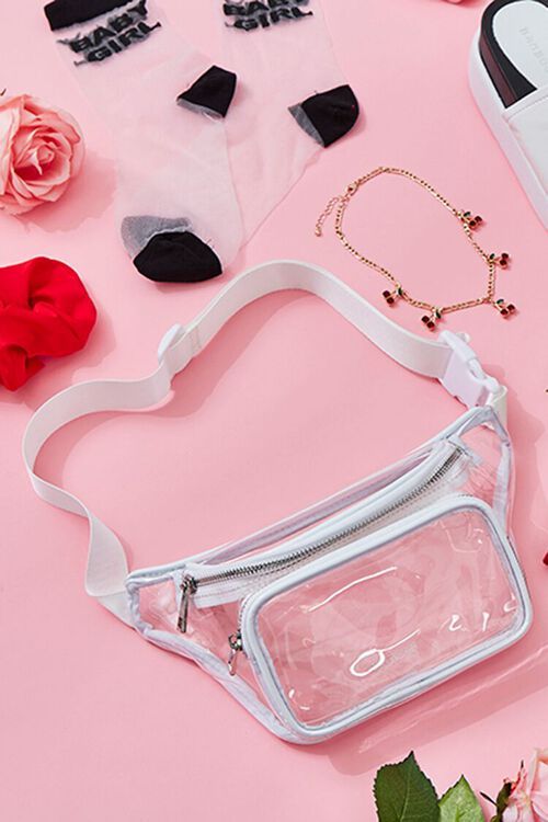WHITE/CLEAR Transparent Fanny Pack, image 1