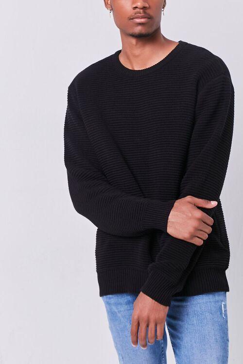 BLACK Ribbed Crew Neck Sweater, image 1