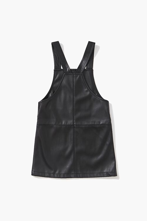 BLACK Girls Faux Leather Pinafore Dress (Kids), image 2