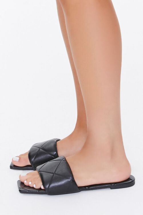 BLACK Quilted Square-Toe Sandals, image 3