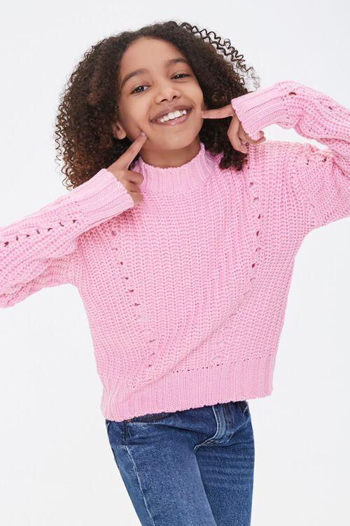 Girls Ribbed Mock Neck Sweater (Kids), image 1