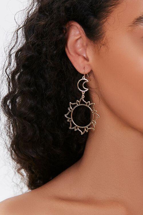 GOLD Cutout Sun Pendant Drop Earrings, image 1