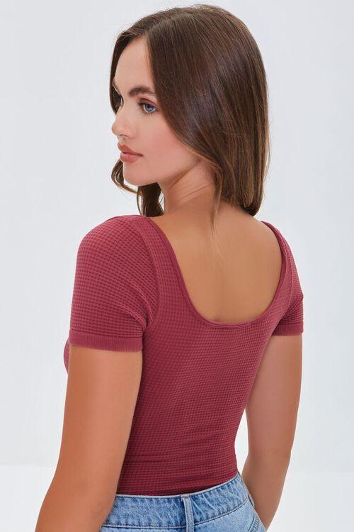 ROSE Waffle Knit Scoop-Neck Bodysuit, image 3