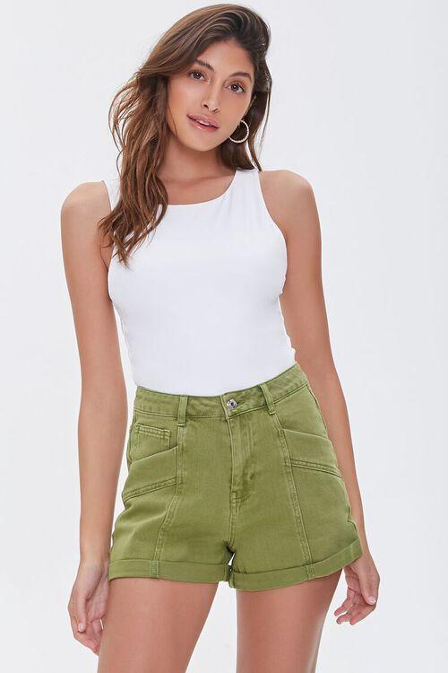 High-Rise Denim Shorts, image 1