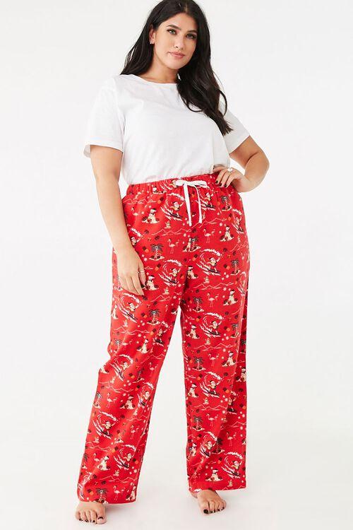Plus Size Santa Pajama Pants, image 1