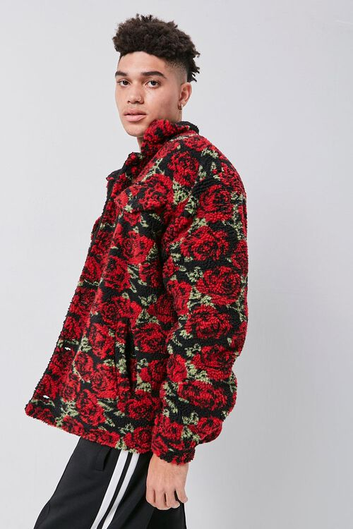 Faux Shearling Rose Print Jacket, image 2