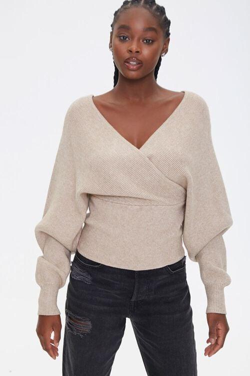 Ribbed Surplice Batwing Sweater, image 1