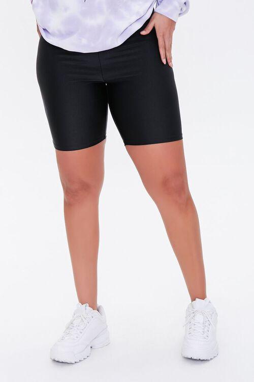 BLACK Plus Size Knit Biker Shorts, image 2