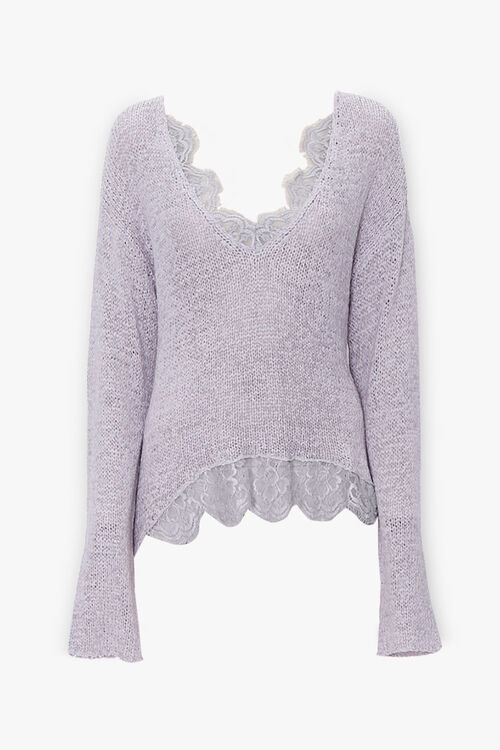 Ribbed Lace-Trim Sweater, image 1