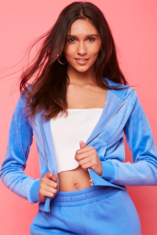 BLUE/SILVER Juicy Couture Velour Zip-Up Jacket, image 2