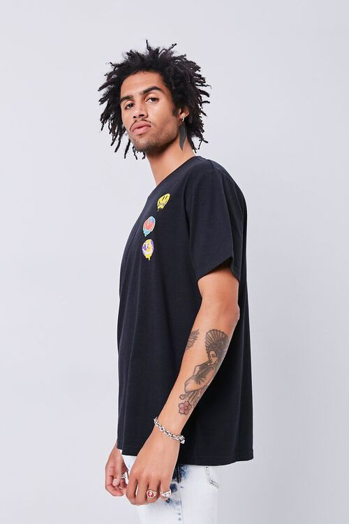 BLACK/MULTI Smiling Faces Embroidered Graphic Tee, image 3