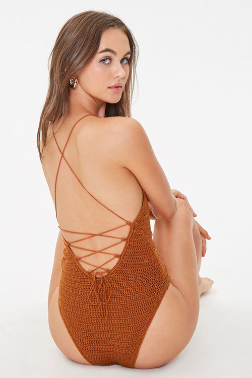 Crochet One-Piece Swimsuit, image 1