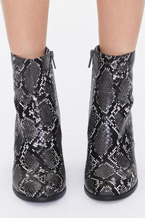 Faux Snakeskin Block Heel Booties, image 4