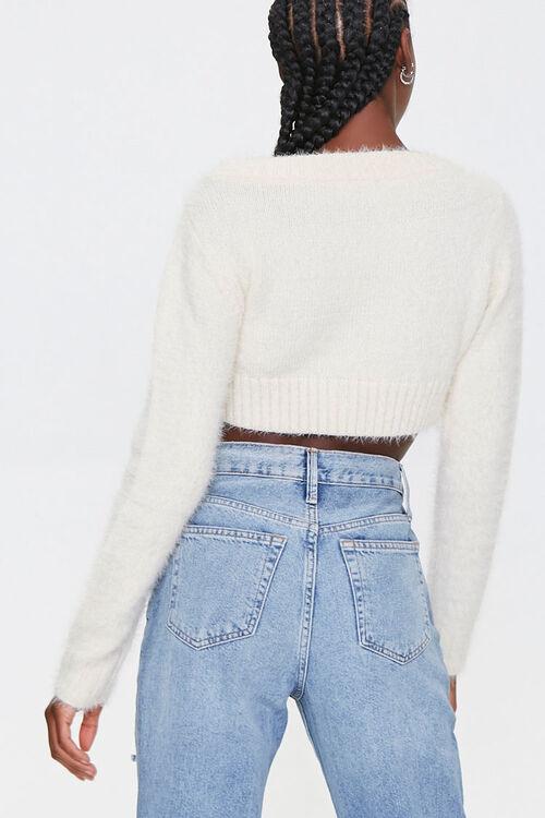 Fuzzy Cropped Cardigan Sweater, image 3