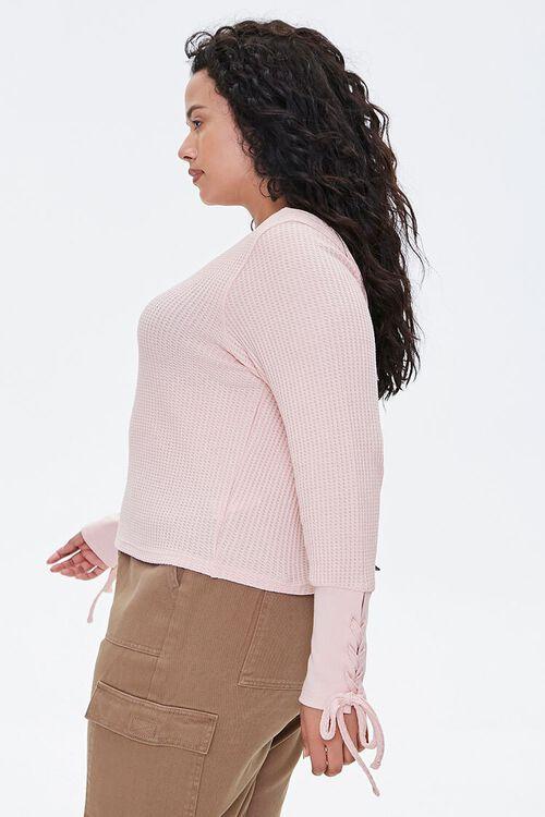 Plus Size Lace-Up Waffle Knit Top, image 2