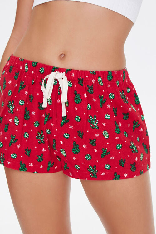 Christmas Cacti Pajama Shorts, image 2