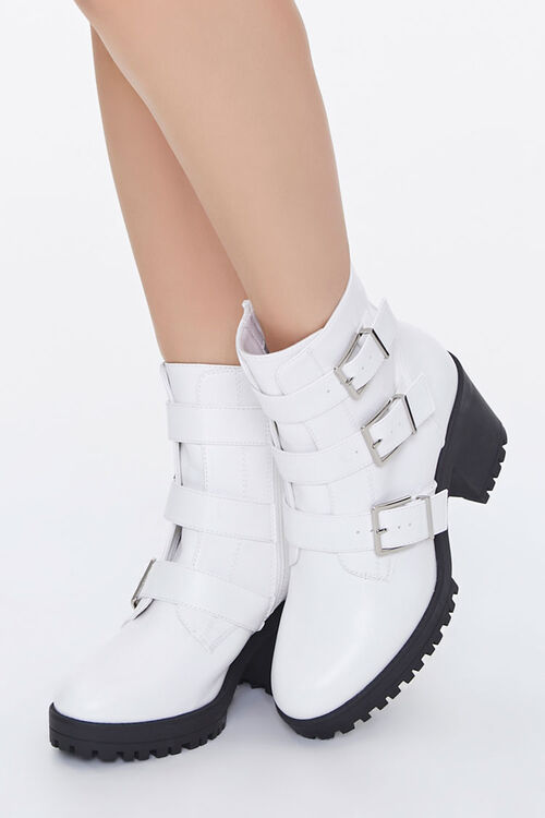 Faux Leather Buckled Booties, image 1