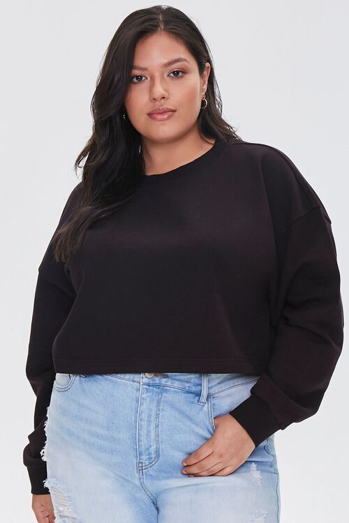 BLACK Plus Size French Terry Pullover, image 1