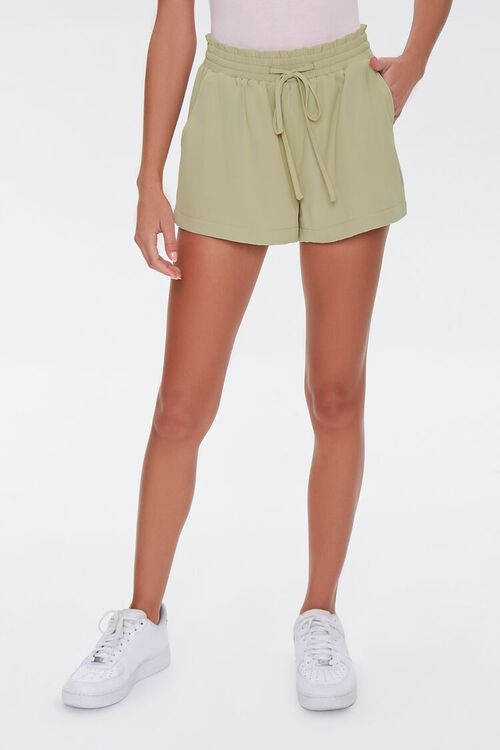 Ruffle Trim Drawstring Shorts, image 2