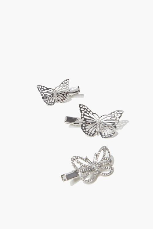 SILVER Butterfly Hair Clips, image 1