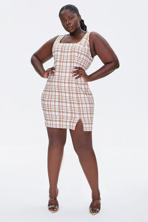 TAUPE/CREAM Plus Size Plaid Mini Dress, image 4