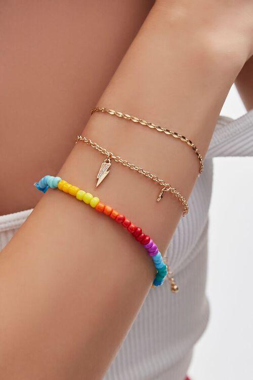 Thunderbolt Charm & Beaded Bracelet Set, image 1