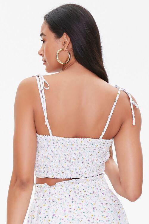 WHITE/MULTI Floral Tie-Strap Cropped Cami, image 3