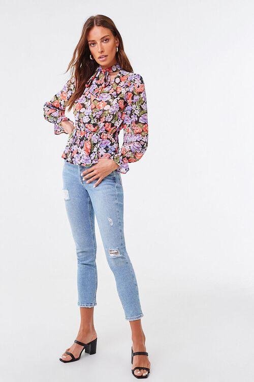 Floral Chiffon Pussycat Bow Top, image 4
