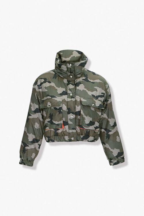 Plus Size Camo Puffer Jacket, image 1