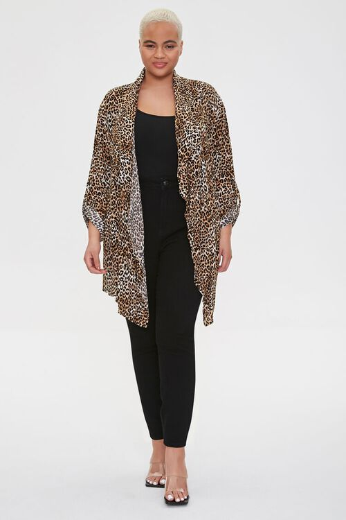 Plus Size Leopard Print Kimono, image 4