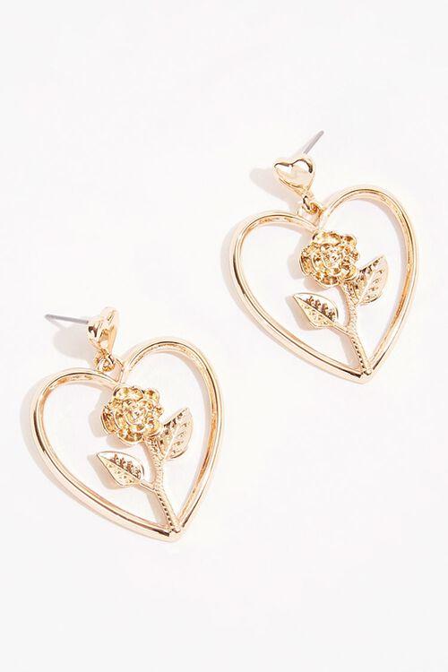 Heart Rose Earrings, image 1