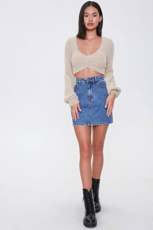 Fuzzy Knit Cropped Sweater, image 4