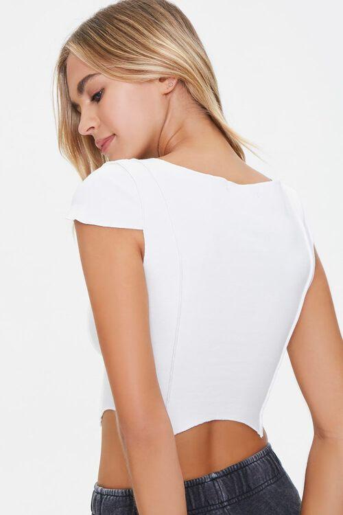 WHITE Cap-Sleeve Crop Top, image 3