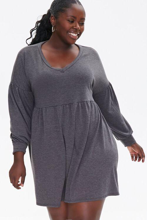 Plus Size Shirred Shift Mini Dress, image 1
