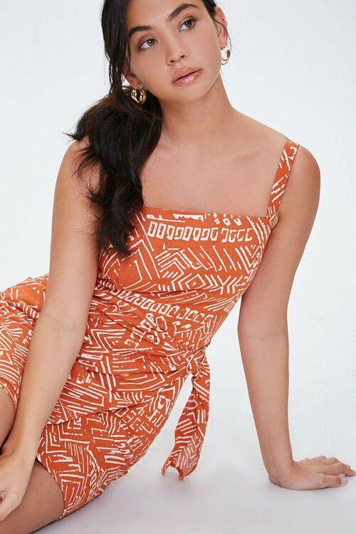 RUST/CREAM Geo Print Faux Wrap Dress, image 1