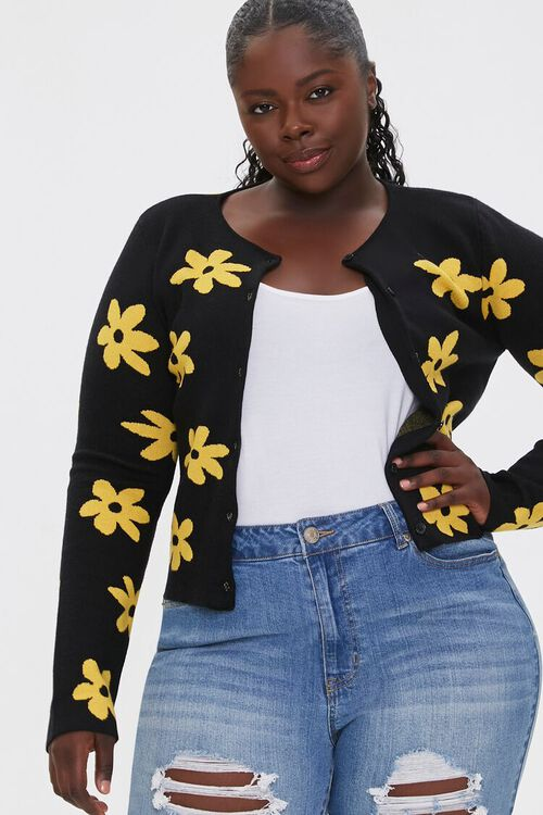 Plus Size Daisy Print Cardigan Sweater, image 1