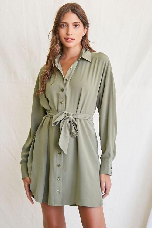 OLIVE Tie-Waist Shirt Dress, image 1