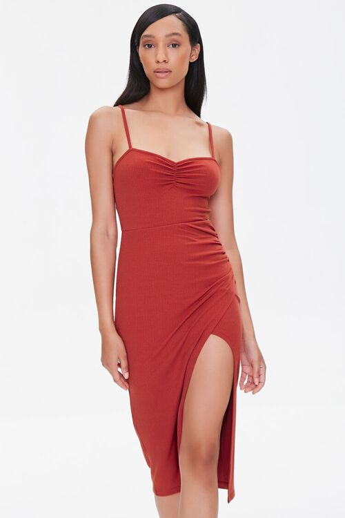 Ruched Cami Bodycon Dress, image 1