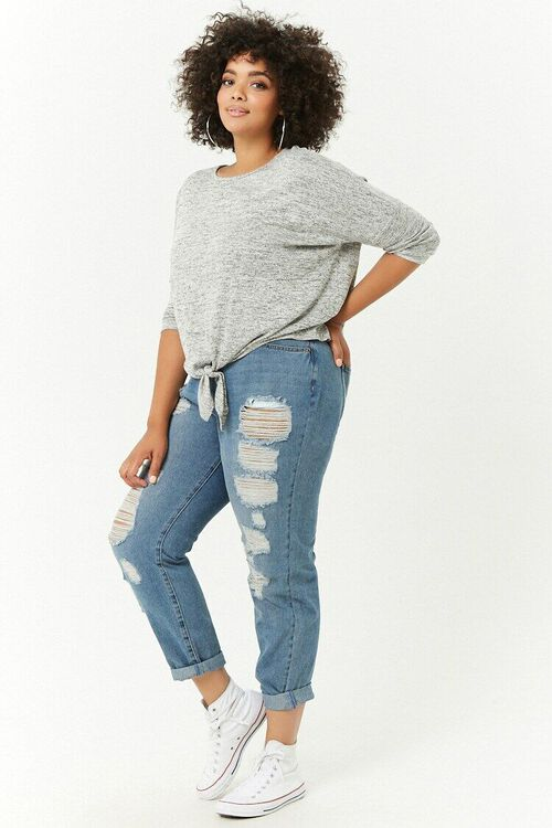 Plus Size Distressed Boyfriend Jeans, image 5