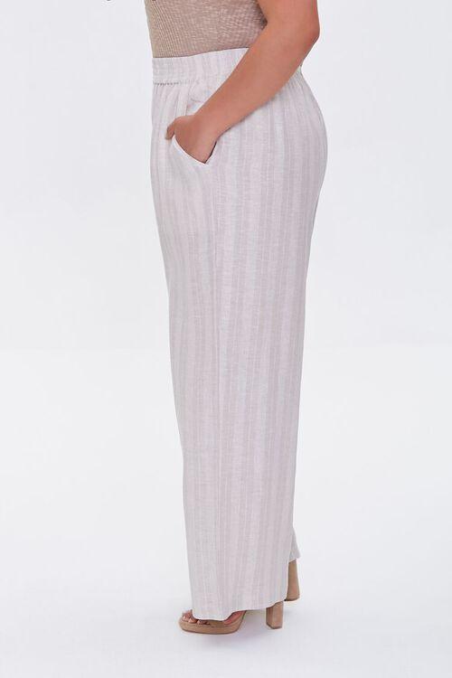 KHAKI/IVORY Plus Size Striped Linen Pants, image 3