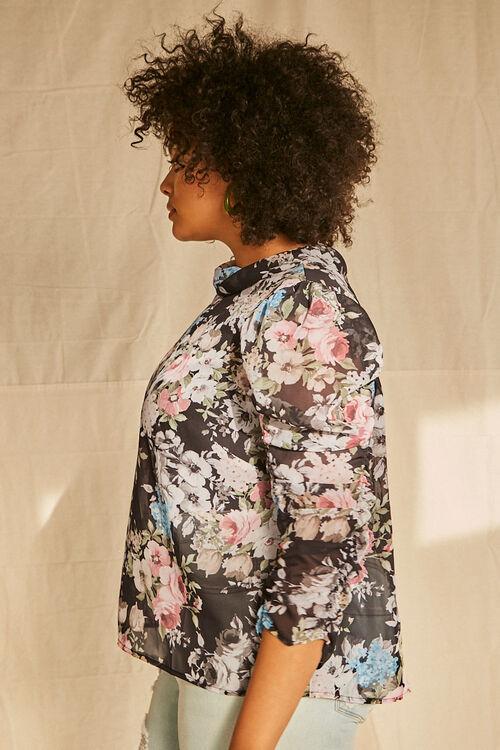 Plus Size Floral Chiffon Top, image 2