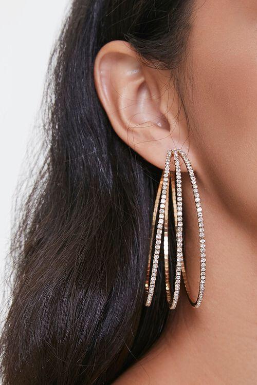 Triple-Hoop Rhinestone Earrings, image 1