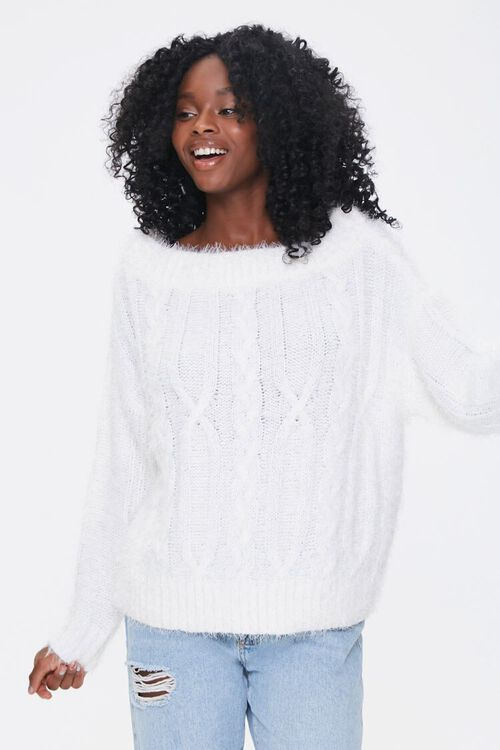 Fuzzy Boat Neck Sweater, image 1