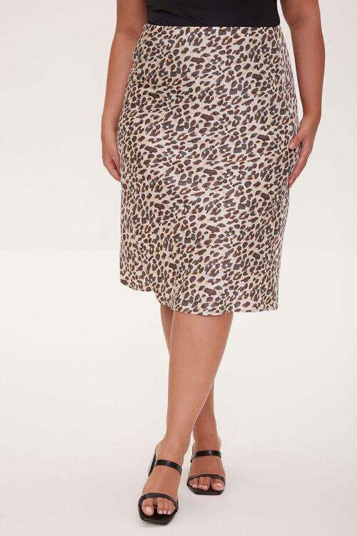 Plus Size Satin Leopard Print Skirt, image 2