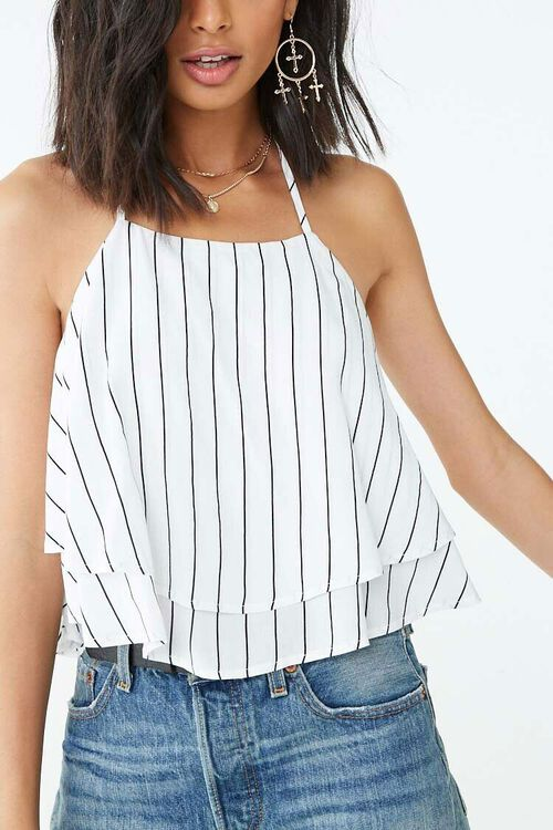 Striped Flounce Cropped Cami, image 1
