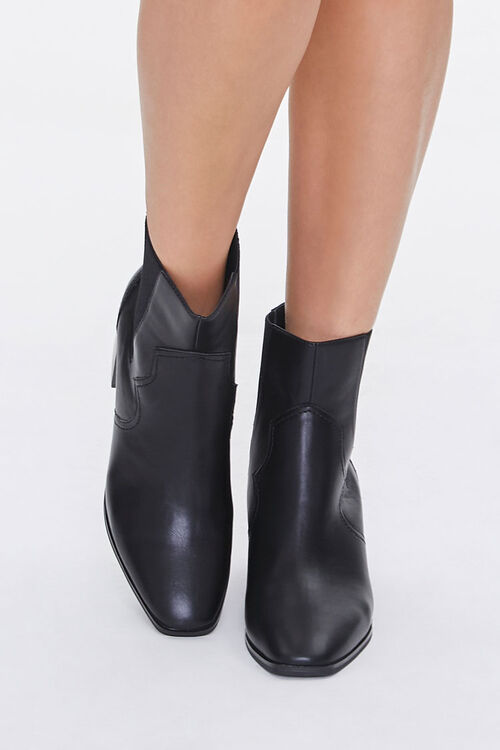 Faux Leather Square Toe Booties, image 4